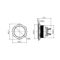 Stainless steel push buttons Ø1.57 inch flat