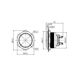 Stainless steel push buttons Ø1.57 inch elevated...