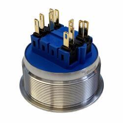 Edelstahl Drucktaster Ø40mm Hervorstehend LED Ring Blau