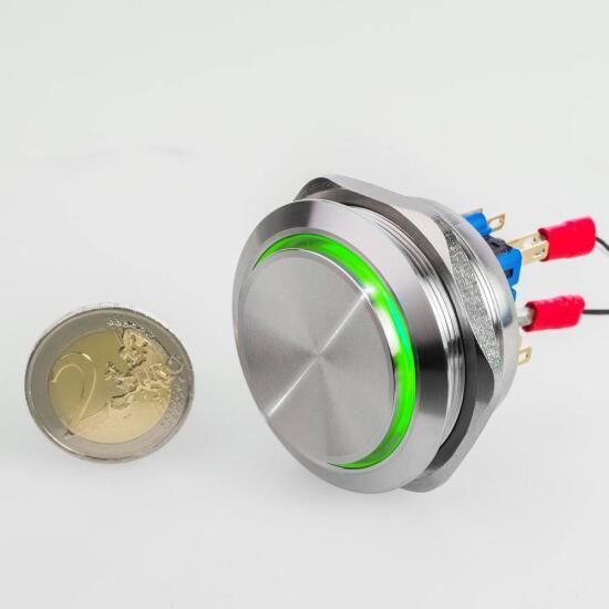 Edelstahl Drucktaster Ø40mm Hervorstehend LED Ring Grün