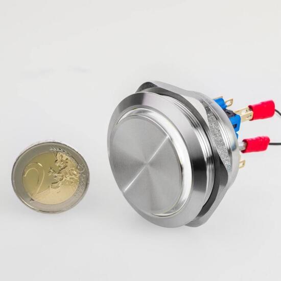 Edelstahl Drucktaster Ø40mm Hervorstehend LED Ring Weiß