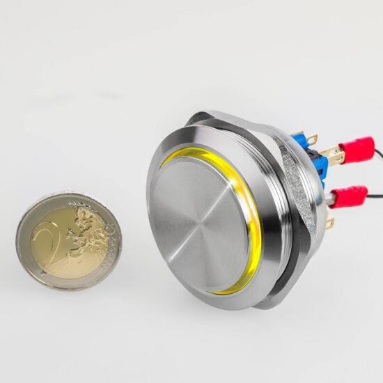 Edelstahl Drucktaster Ø40mm Hervorstehend LED Ring Gelb