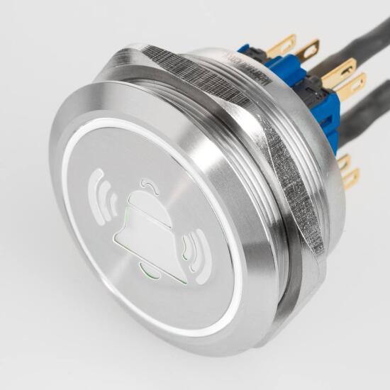 Edelstahl Drucktaster Ø40mm LED Symbol Glocke Weiß