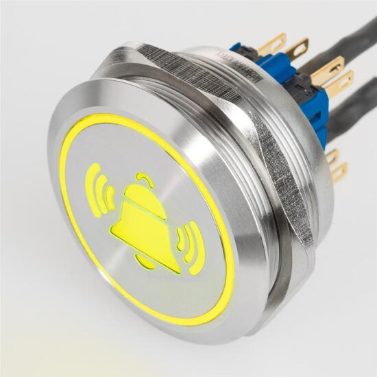 "XL LED push-button ""Bell"" symbol - stainless-steel - Ø 40 mm // 1.57 "" - flat surface - waterproof - AC/DC (Yellow)"