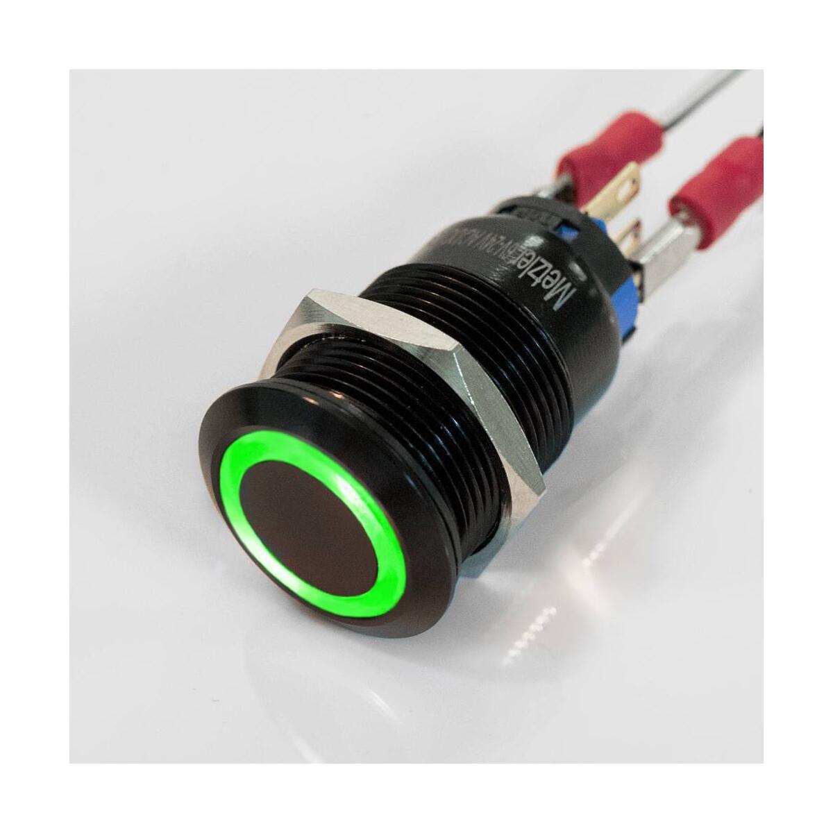 Wasserdicht IP67 25mm Drucktaster LED grün als Schalter Edelstahl