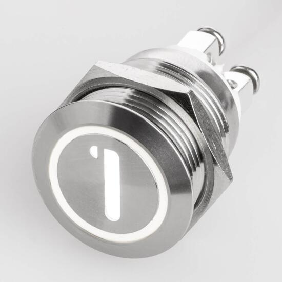 Edelstahl Drucktaster Ø19mm Flach LED Symbol Zahl Nummer 1 Weiß Schraubkontakte
