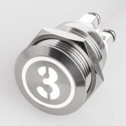 Stainless steel push buttons Ø0.75 inch flat LED...