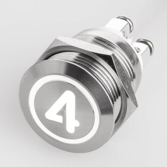 Edelstahl Drucktaster Ø19mm Flach LED Symbol Zahl Nummer 4 Weiß Schraubkontakte