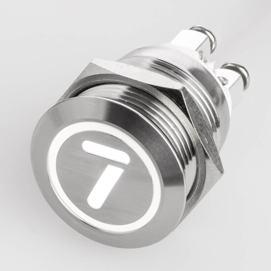 Stainless steel push buttons Ø0.75 inch flat LED symbol number Number 7 White screw contacts