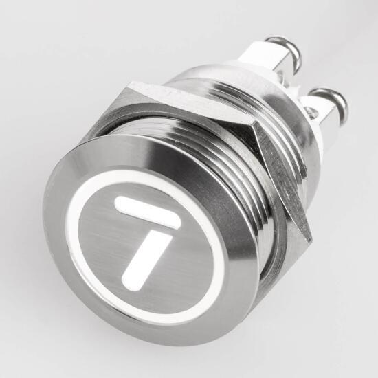 Edelstahl Drucktaster Ø19mm Flach LED Symbol Zahl Nummer 7 Weiß Schraubkontakte