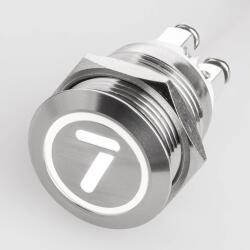 Edelstahl Drucktaster Ø19mm Flach LED Symbol Zahl...