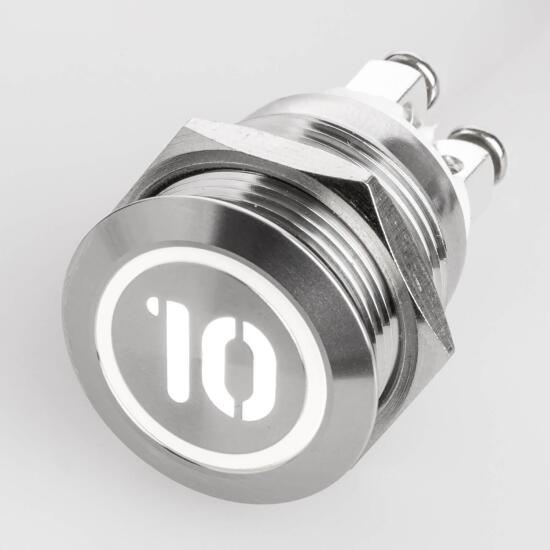 Edelstahl Drucktaster Ø19mm Flach LED Symbol Zahl Nummer 10 Weiß Schraubkontakte