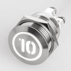 Stainless steel push buttons Ø0.75 inch flat LED symbol number Number 10 White screw contacts